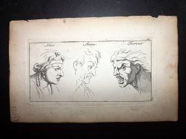 Sayer Compleat Drawing-Book 1757 Antique Print. Fear, Scorn, Terrour 65